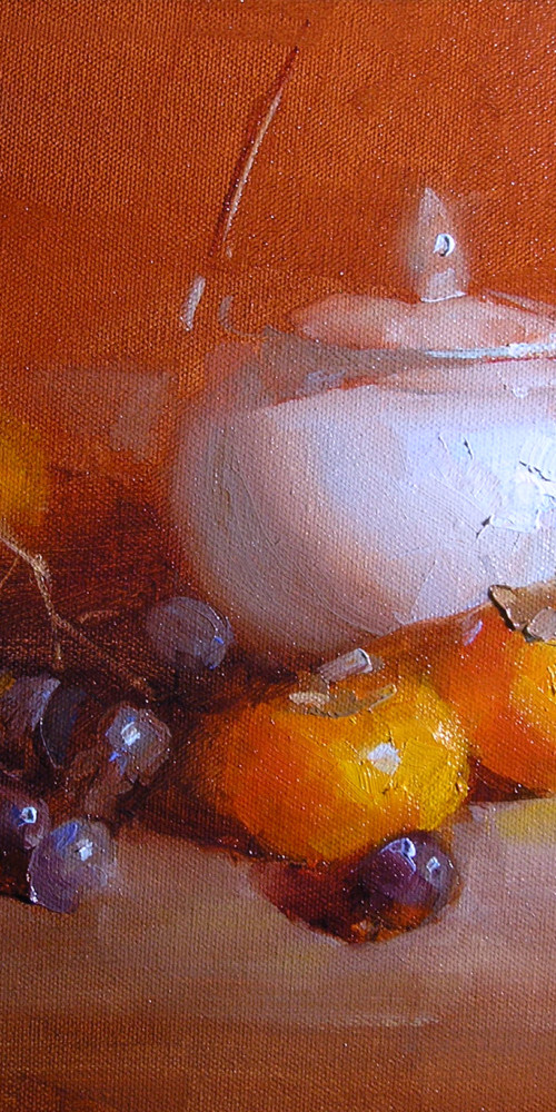 Persimmons with Blue Pot